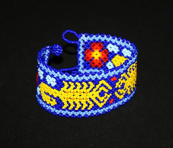 Beaded Scorpion Bracelet, Huichol Bracelet, Native American Scorpion Cuff Bracelet, Seed Bead Bracelet, Traditional Beaded Bracelet