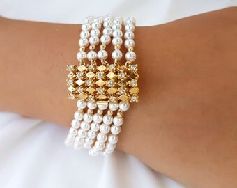 Statement Bracelet Bridal Cuff Beaded Bracelet For Bride Pearl Bracelet Pearl Bracelet Bridal Pearl Bracelet Bridal Bracelet Bridal Jewelry
