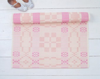Pink, Peach, Ivory Rug, Girl Nursery Rug, Double-sided Cotton Rug, Handmade on the Loom in Rep Weave Technique, Ready to Ship