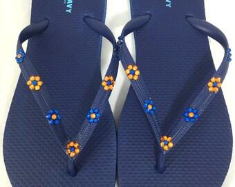 Custom Swarovski Women Navy, Flip Flops, customized with Topaz and Blue Florets.