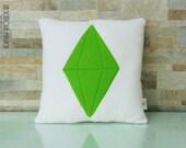 Sims Green PlumbBob Crystal cushion Handmade - App Icon Pillow - Plush Pillow - Handmade