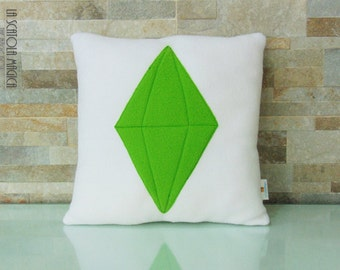 Sims Green PlumbBob Crystal cushion Handmade - App Icon Pillow - Plush Pillow - Handmade