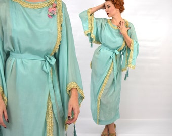 20s Turquoise Silk Dressing Gown