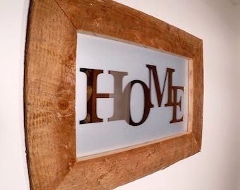 "Rustic made to order ""HOME"" mirrior frame"