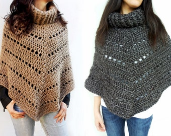 Crochetted wollen poncho - camel or dark brown colour with lurex - handmade