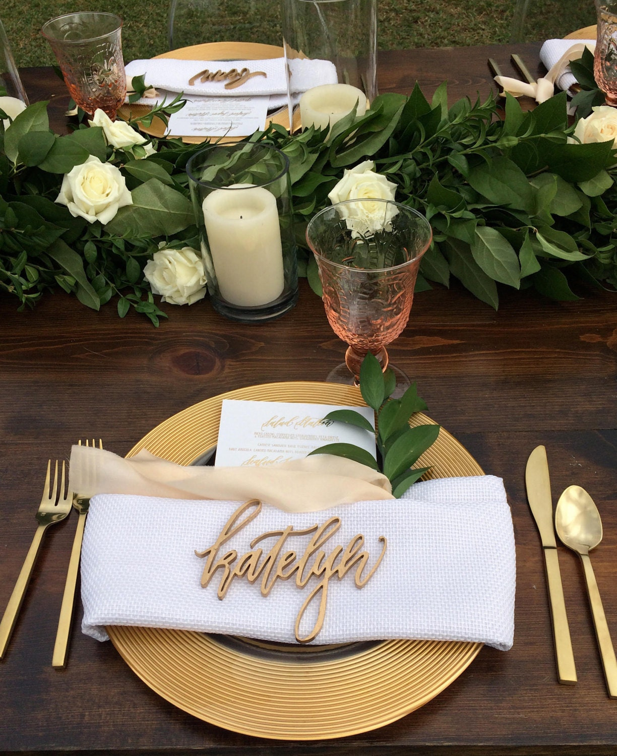 Laser Cut Calligraphy Place Cards / Name By HawaiiCalligraphy