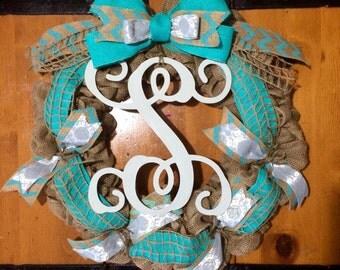 Burlap monogram wreath, bow wreath, turquoise wreath, burlap wreath, classic monogram, initial