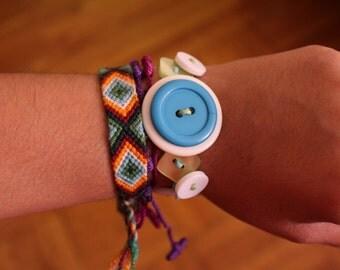 Two Strings Aqua Button Bracelet