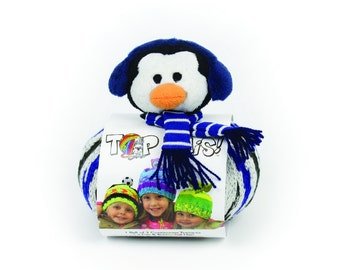 DMC Top This Knitted Hat Kit - Penguin - Includes knitting hat pattern, yarn and novelty plush character to finish.