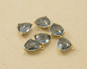 Charcoal Glass Pendant, Jewelry Supplies, Polished Gold Plated over Brass - 2 pieces-[BGP0004]-CHARCOAL/PG