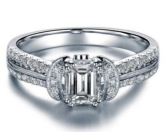Art Deco Emerald Cut Natural Diamond Engagement Ring Platinum Setting Diamond Ring