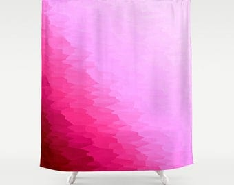 Shower Curtain, Pink Shower Curtain, Pink Ombre Texture Shower Curtain, Bathroom Decor, Pink Home Decor, Fuchsia Shower Curtain, Pink Ombre