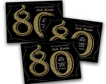 Glitter Gold and Black Printable Adult Birthday Party Invitations - Adult Party - Milestone Party - 70th - 60th - 90th - 80th - 40th Man