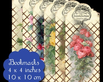 6 Vintage Floral Bookmarks