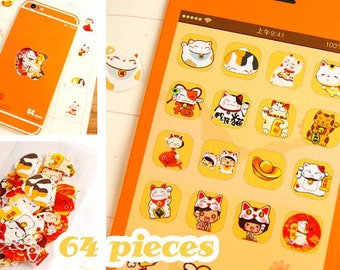 64PCS Japanese Lucky Cat Flake Stickers Bag