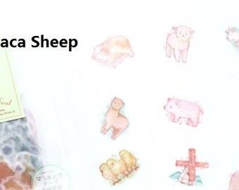 Cute Alpaca Sheep Flake Sticker Sack 50Pcs