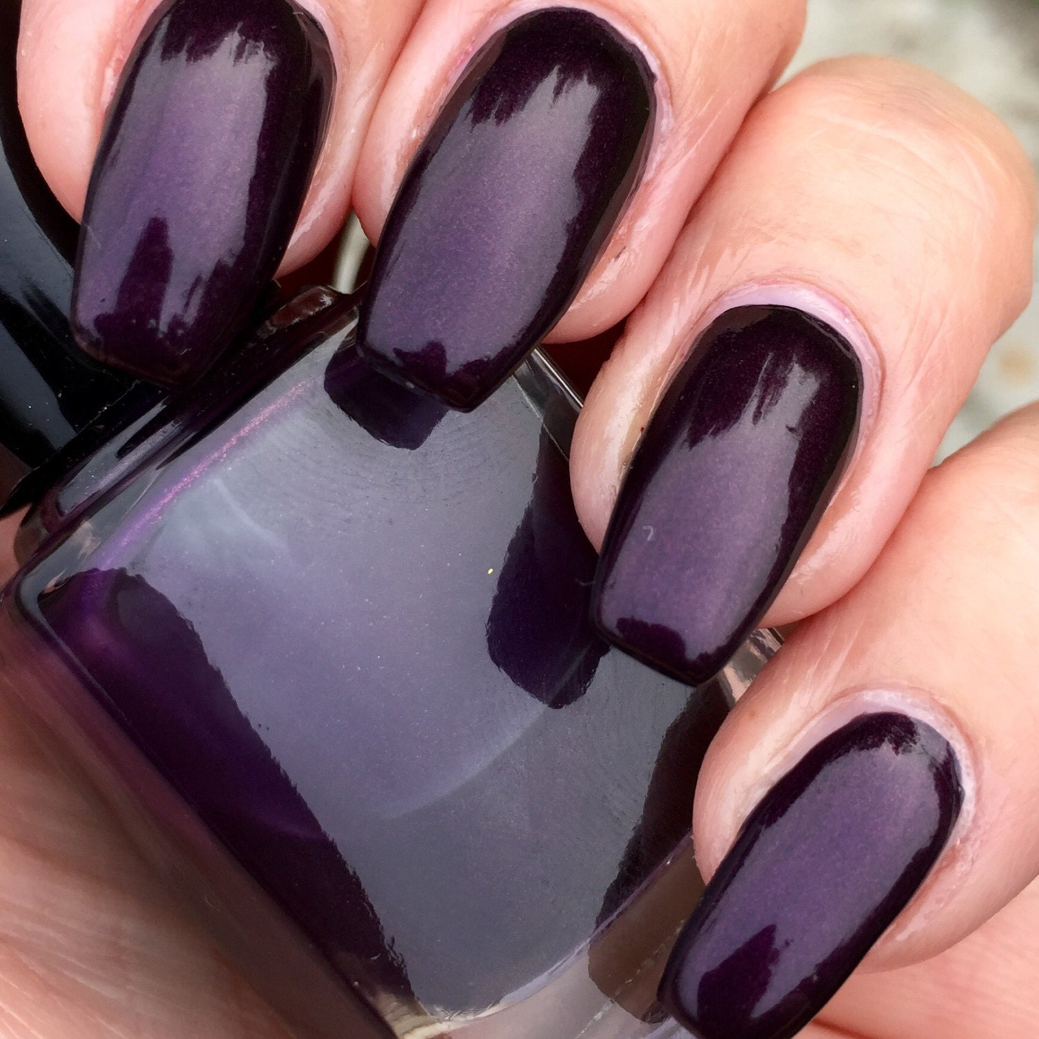 How Long To Let Nail Polish Dry Before Top Coat: Before Dawn Deep Plum Shimmer Nail Polish