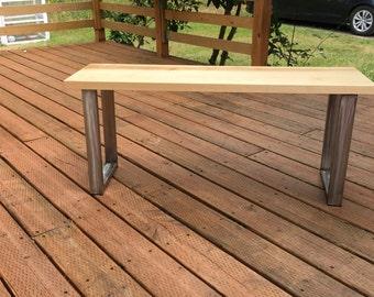 Maple bench. Hardwood bench. Industrial bench. Entry bench. Diningroom bench. Office bench. Entry bench. Modern Bench. Live edge bench.
