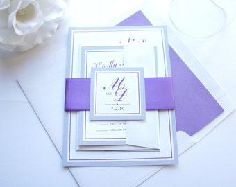 Purple Wedding Invitation Set, Elegant Wedding Invitation Suite, Purple Wedding Invites, Purple and Gray, Elegant Wedding Invite - Deposit