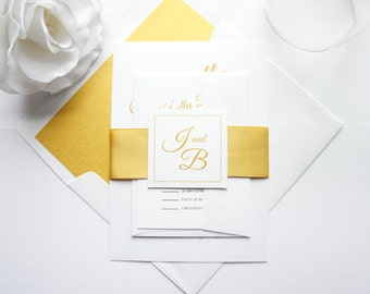 Gold Wedding Invitation Suite - Gold Wedding Invite, Modern Calligraphy Wedding Invites, Elegant Wedding Invitations - Deposit