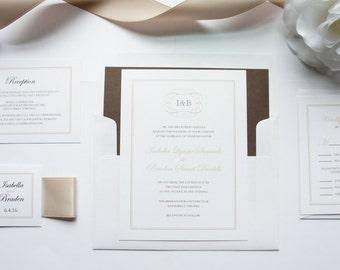 Luxury Wedding Invitations, Champagne Wedding Invitation, Elegant Wedding Invitations, Wedding Invites, Wedding Invitation Set - SAMPLE SET