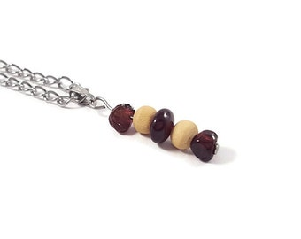 Natural jewelry red garnet necklace earthy pendant stone wood pendant genuine garnet pendant wood necklace natural necklace earth jewel ayin