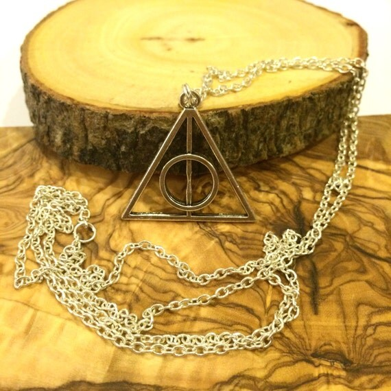 Large or small triangle necklace on long chain