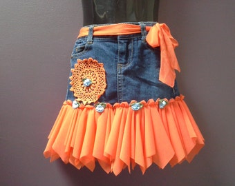 GIRLS DENIM TUTU, fairy skirt, gypsy tutu skirt, blue orange tutu skirt, doily embellished, 1 2 year old girl, boho flower girl, denim skirt