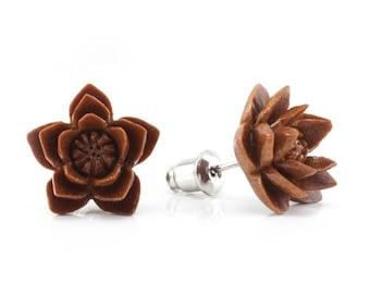 "Hand Carved - ""Starburst Sabo"" - Wood Stud Earring - Urban Flowers"