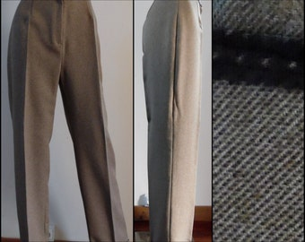 Womens brown oxford bag pants/trousers Jacqueline Riu French smart tapered leg turn up pants trousers medium