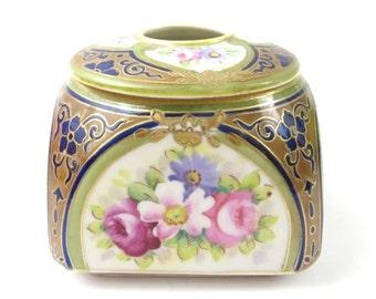 Vintage Porcelain Hair Receiver / Hand Painted Porcelain  #B