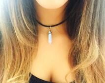 Opalite Leather Choker, Crystal Choker necklace, summer choker, boho jewellery, opal gemstone choker, pointed crystal choker, gift for her
