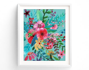 Art Prints, Printable Botanical, Turquoise floral, teal wall art