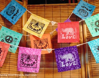 Wildlife Prayer Flags -- Set of 5 Bright Cotton Flags Hand-Printed with Original Woodcut Artwork