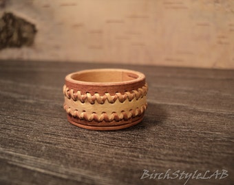 Exotic Birch Bark Ring,Natural wooden ring