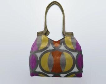 multicolored tote bag, retro style fabric tote bag, trendy shoulder bag, fabric shoulder bag, trendy tote, large handbag, versatile tote bag