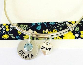 Name Bracelet, Personalized Name Bracelet, Silver, Mommy Bracelet, Adjustable Bangle Bracelet, Family Bracelet, Personalized Bangle Bracelet