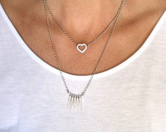 Silver necklace set, heart and spike necklace set, two necklace set, layering necklaces