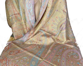 Khaki gold SILK PASHMINA rust scarf chic boho silk shawl scarf ps217