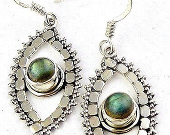 LABRADORITE gem EARRINGS leaves stone protection lithotherapy mineral stone jewelry care natural ab33