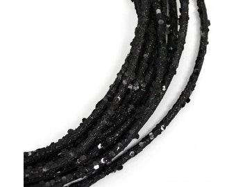 5 mm Black Metallic Glamour Roping - (25 Feet )Deco Poly Mesh Wreath Supplies - RS500302