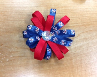4th of July hair bow, boutique hair bow
