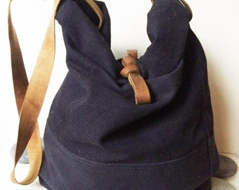 Navy Blue Canvas Bag, Canvas tote bag, Duffel Bag, Bucket Bag, Sea Bag, Leather Bag, Shoulder Bag, Gift for him and her, Weekender