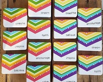 Hand stamped rainbow TINY blocks