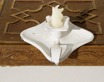 Vintage French white enamelware candle holder 1920's