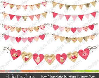 Hot Chocolate Bunting Clipart Set - instant download