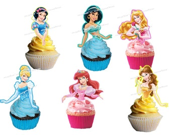 Princesses (half body)  Cupcake Topper (24pcs)