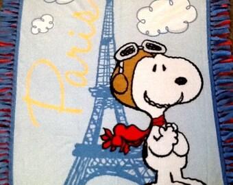Snoopy in Paris  fleece tie blanket, reversible  blanket