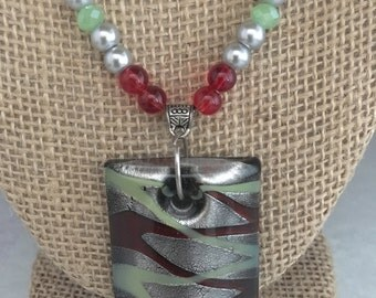 Fused glass pendant, red glass pendant, green glass pendant, Red beaded necklace, red necklace, pendant necklace, green necklace