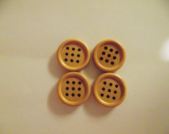 4 Light Brown 9 Hole Buttons - #WS-00034